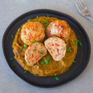 Almondega de frango com purê de abobora - Low Carb