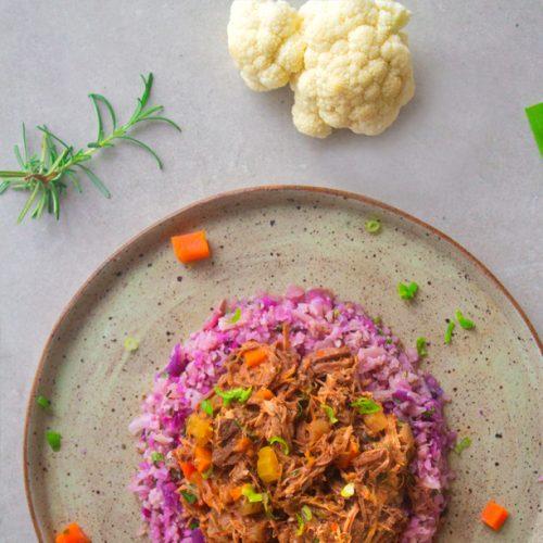Ragú de carne com arroz de couve flor