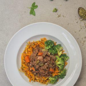 Ragu de carne com spaghetti de abóbora